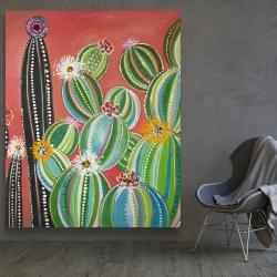 Canvas 48 x 60 - Rainbow cactus