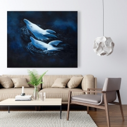Canvas 48 x 60 - Two swimming dolphins