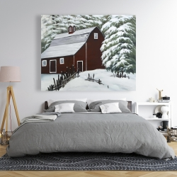 Canvas 48 x 60 - Red barn in snow