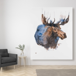 Canvas 48 x 60 - Abstract blue moose