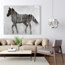 Canvas 48 x 60 - Gambading abstract horse
