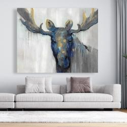 Canvas 48 x 60 - Blue moose
