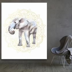 Canvas 48 x 60 - Elephant on mandalas pattern