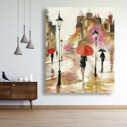 Canvas 48 x 60 - Passersby under their umbrellas
