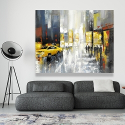 Canvas 48 x 60 - Rainy busy street