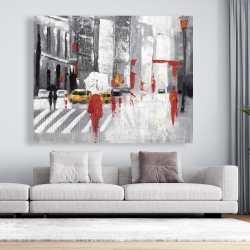 Canvas 48 x 60 - Abstract cloudy city street