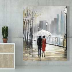 Canvas 48 x 60 - Couple walking under the rain