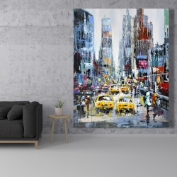 Canvas 48 x 60 - Urban scene with yellow taxis