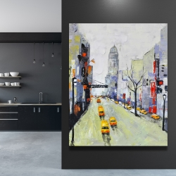 Canvas 48 x 60 - Gray street with yellow and red accents