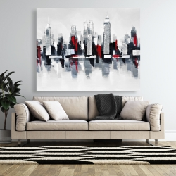Canvas 48 x 60 - Gray and red cityscape