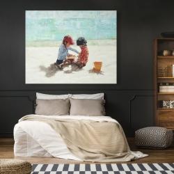 Canvas 48 x 60 - Little girls at the beach