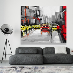 Canvas 48 x 60 - Abstract traffic by a rainy day