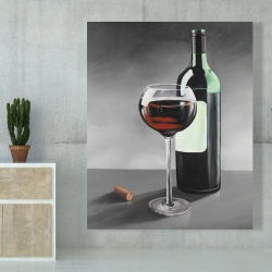 Canvas 48 x 60 - Bottle of burgundy