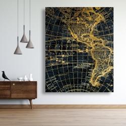 Canvas 48 x 60 - Blue and marine world map globe