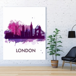 Canvas 48 x 60 - Purple silhouette of london