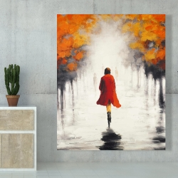Canvas 48 x 60 - Woman with a red coat by fall