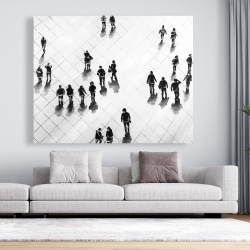 Canvas 48 x 60 - Overhead view of people on the street