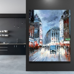 Canvas 48 x 60 - Abstract red and blue city