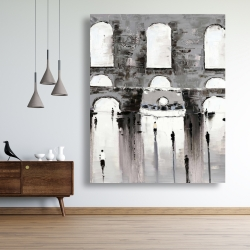 Canvas 48 x 60 - Gray building with passersby