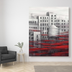 Canvas 48 x 60 - Gray city with red clouds