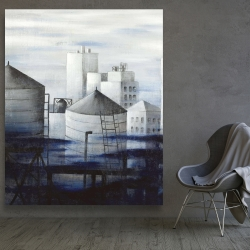 Canvas 48 x 60 - Gray city with blue clouds