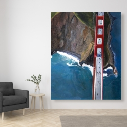 Canvas 48 x 60 - Overhead view of the golden gate and mountains