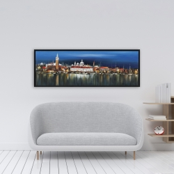 Framed 16 x 48 - City by night with reflection on water
