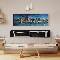 Framed 16 x 48 - Abstract blue cityscape by night