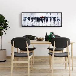 Framed 16 x 48 - Silhouettes walking in the rain