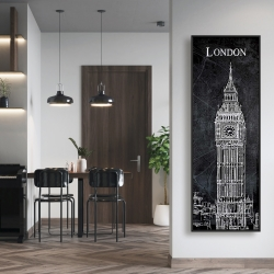 Framed 16 x 48 - Big ben sketch with a map in background