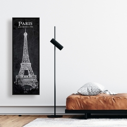 Framed 16 x 48 - Eiffel tower sketch with a map in background