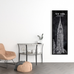 Framed 16 x 48 - Chrystler tower sketch with a map in background