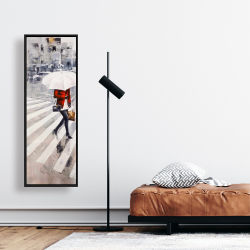 Framed 16 x 48 - Woman walking with her umbrella
