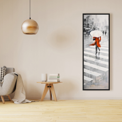 Framed 16 x 48 - Rainy day in the city