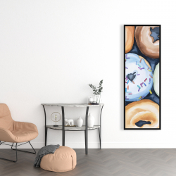 Framed 16 x 48 - Watercolor doughtnuts with icing