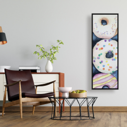 Framed 16 x 48 - Watercolor delicious looking doughtnuts