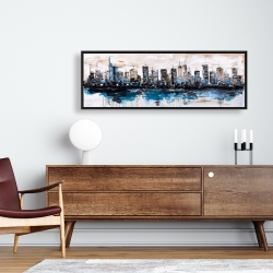 Framed 16 x 48 - Abstract city with reflection on water