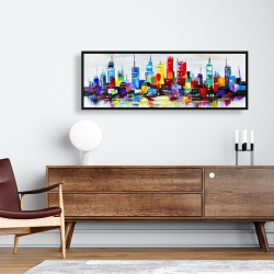 Framed 16 x 48 - Abstract and colorful city