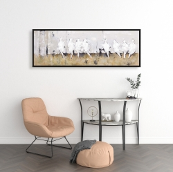 Framed 16 x 48 - Eight perched birds