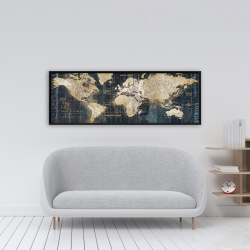 Framed 16 x 48 - Vintage world map