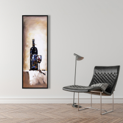 Framed 16 x 48 - Bottle and a glass of red wine