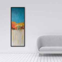 Framed 16 x 48 - Colorful abstract small flowers