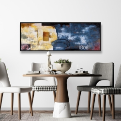 Framed 16 x 48 - Abstract art with numbers