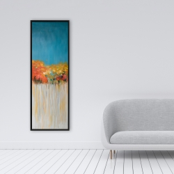 Framed 16 x 48 - Colorful abstract flowers on a grey background