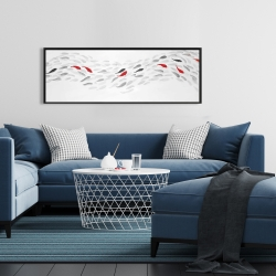 Framed 16 x 48 - Swimming fish wave