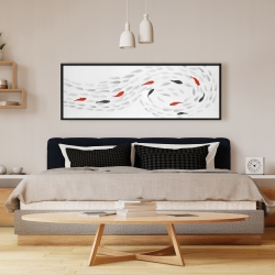 Framed 16 x 48 - Swimming fish swirl