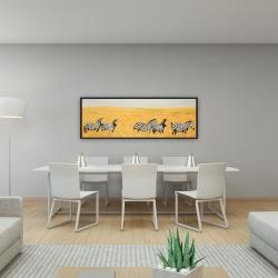 Framed 16 x 48 - Herd of zebra