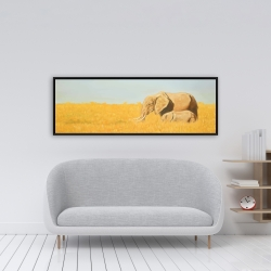 Framed 16 x 48 - Elephant and its little one