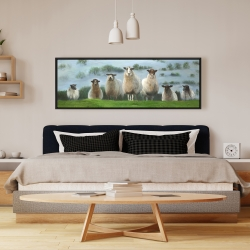 Framed 16 x 48 - Flock of sheep