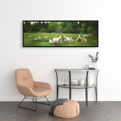 Framed 16 x 48 - Fields of sheep